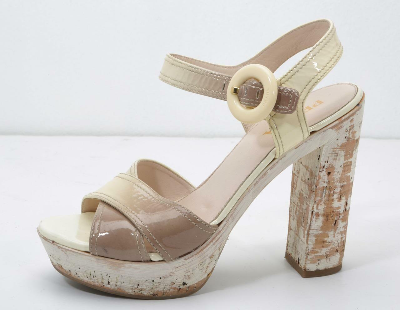 PRADA Womens Cream-Beige Patent Leather Ankle Strap Painted Wood Heels 7.5-37.5