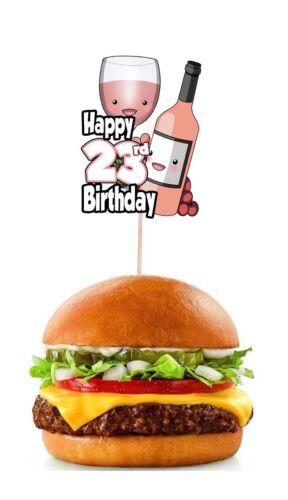 23rd Anniversaire Rose Vin Party Food Cupcake Picks Sticks Drapeau Décorations Toppers