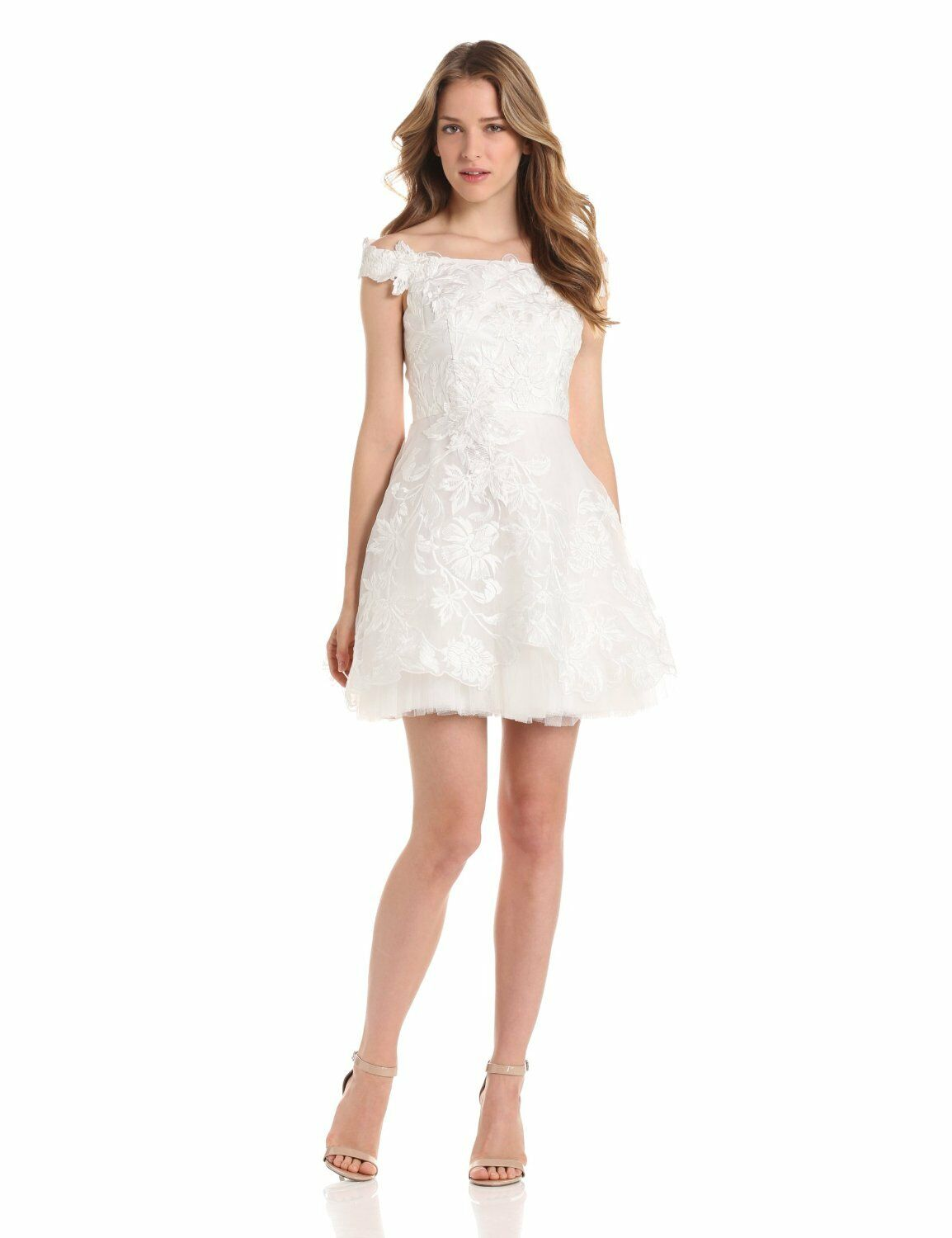 NEW ADRIANNA PAPELL OFF SHOULDER EMBROIDErot TULLE DRESS Größe 14   IVORY