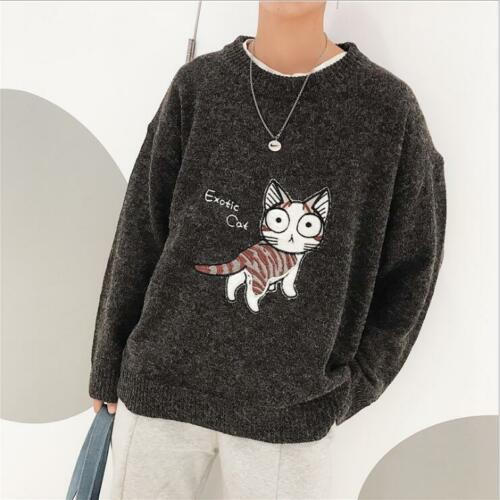 Casual Round Neck Knitwear Men/'s Students Cute Printed Sweater Autumn Winter New