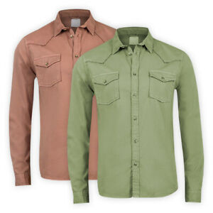 Mens-Cotton-Western-Shirt-Long-Sleeve-Pocket-Regular-Collared-Casual-Top-XS-3XL