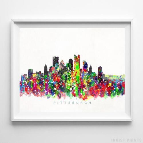 Pittsburgh Pennsylvania Watercolor Skyline Wall Art Home Decor Poster UNFRAMED