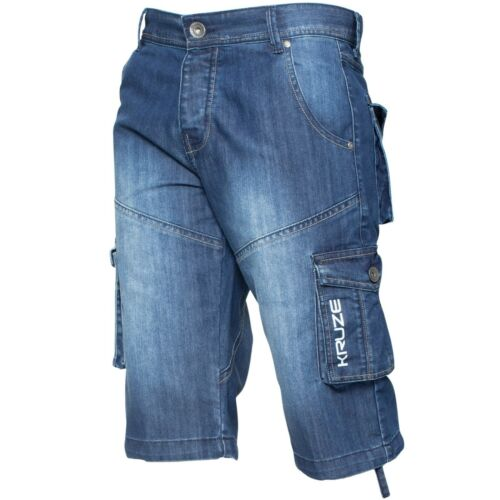 Kruze Branded Mens Cargo Shorts Combat Denim Knee Length Multi Pocket Half Pants
