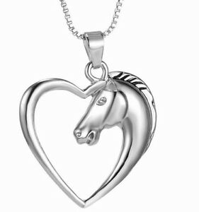 Horse-Pendant-Necklace-Heart-Charm-Link-Chain-Silver-Plated-Classic-Unique-Gift