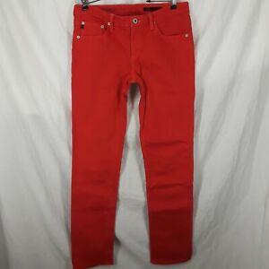 AG Adriano Goldschmied The Stilt Cigarette Leg Skinny Jeans Women's Size 29R Red