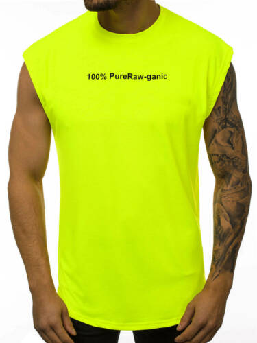 Manga t-shirt muscular camisa Neon Basic fitness verano señores ozonee 10645 Mix