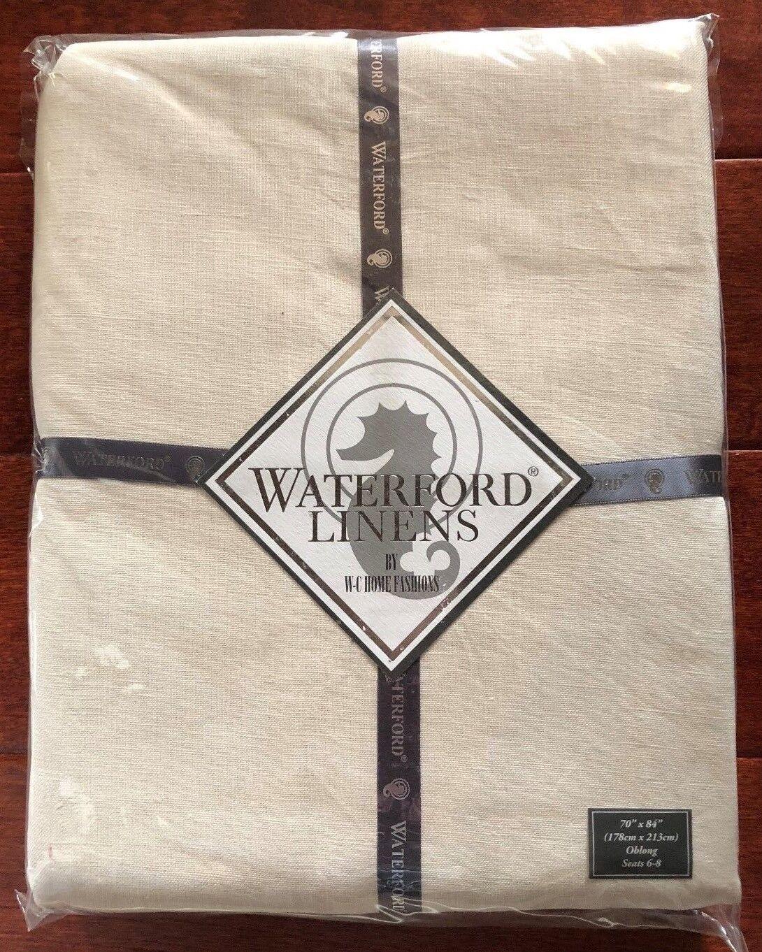 Waterford ADDISON Nappe 70  X 84  Crème Linge Oblong sièges 8 PDSF  150 Neuf avec étiquettes