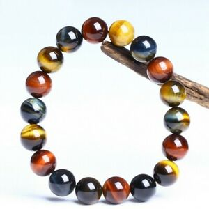 Elastico-Natural-Piedra-ojo-de-tigre-Joyas-Perlas-redondas-Pulsera-Brazalete