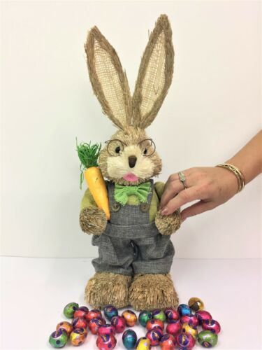 45cm STRAW RABBIT BOY CARROT HOME DECORATION EASTER BUNNY STATUE ORNAMENT