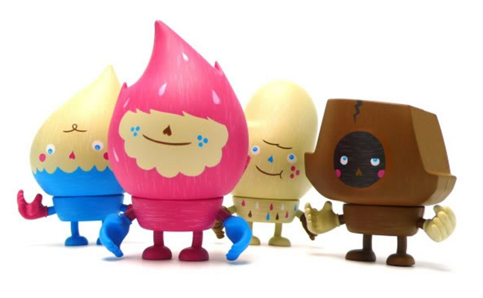 Four ELEMENTS First Degree 3  vinyl figures by Easy Hey, Interchangeable pieces