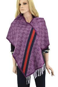 460-GUCCI-Violet-Rose-GUCCISSIMA-Laine-Femme-Wrap-Chale-Foulard-nouvelle-collection