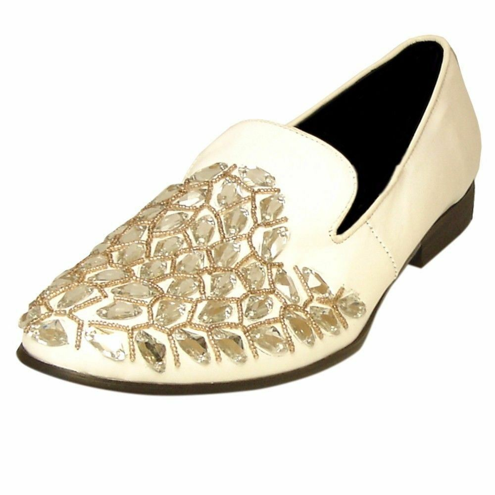 Fiesso White Leather gold Stone Jewelled Dress Formal Wedding Slip On Loafer Sho