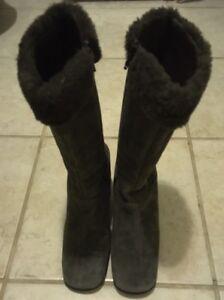 Banana-Republic-Women-039-s-Boots-Green-Faux-Fur-Calf-High-Suede-Sz-7m
