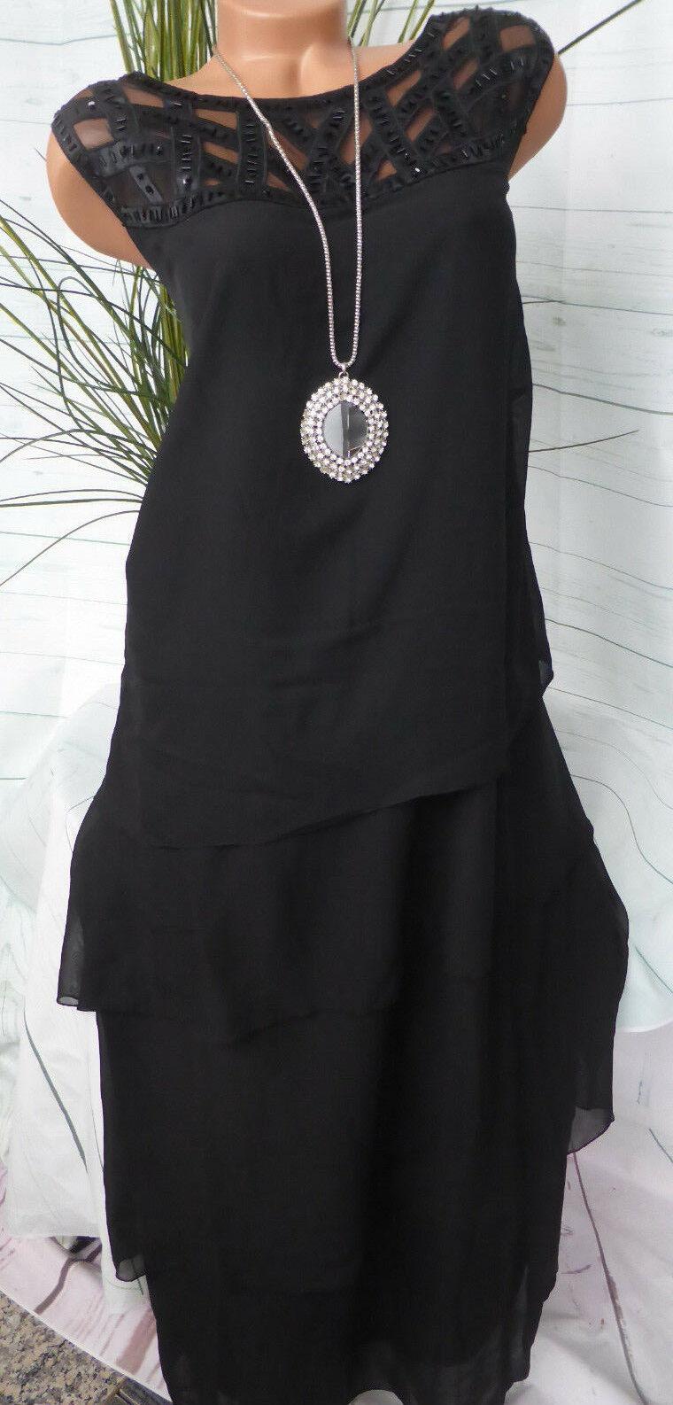 Sheego Eventkleid Abendkleid Kleid Gr. 44 bis 54 Pailletten (023) Schwarz