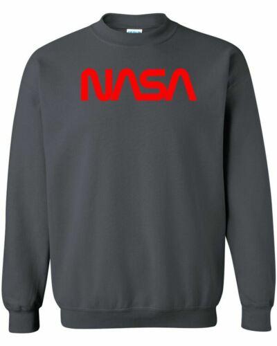 NASA Worm Red Logo Crewneck Sweatshirt Space Astronaut Retro Style Classic New