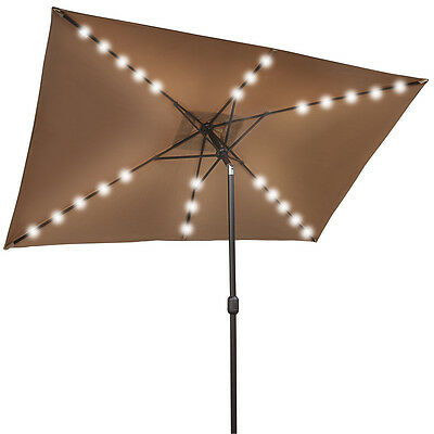 10'x6.5' OUTDOOR SOLAR POWERED 26 LED LIGHTS PATIO UMBRELLA RECTANGLE SUNSHADE