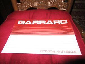 Garrard GT250ap & GT350ap Turntable Original Owners Manual 9 English+ Pages