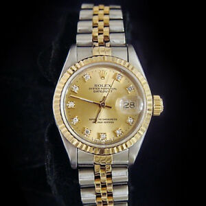 Rolex-Datejust-Lady-18K-Gold-amp-Steel-Watch-Champagne-FACTORY-Diamond-Dial-69173