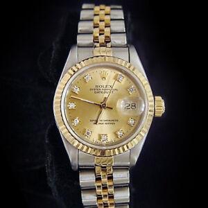 Los Angeles 90b86 afa82 Dettagli su Rolex Datejust Donna 18kt Oro & Orologio in Acciaio Champagne  Fabbrica Quadrante