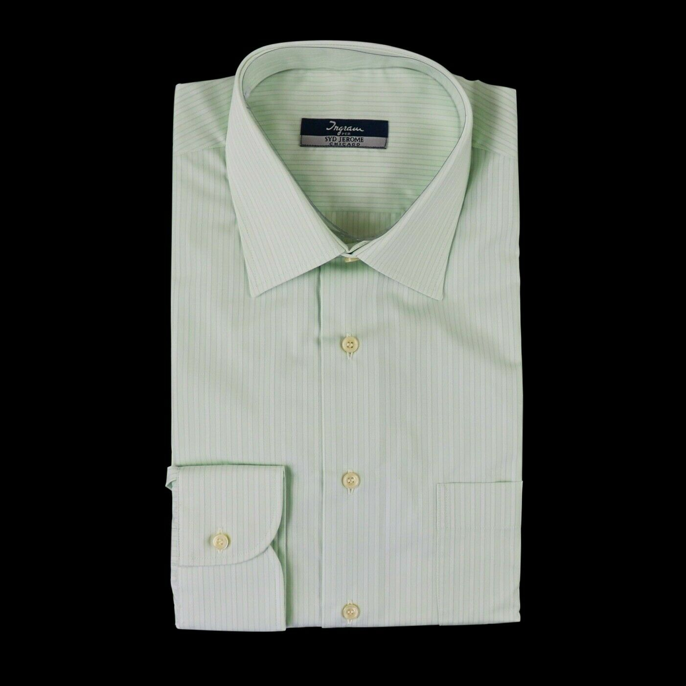 New INGRAM Pale Green Striped 100% Cotton Made in  Dress Shirt 16.5 42