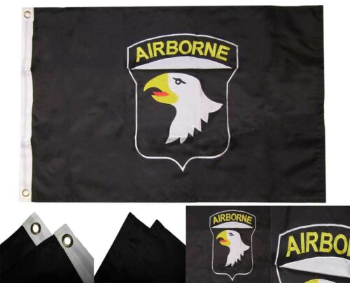 3x5 ft Airborne 101st Flag Embroidered Double Sided Nylon Grommets Black