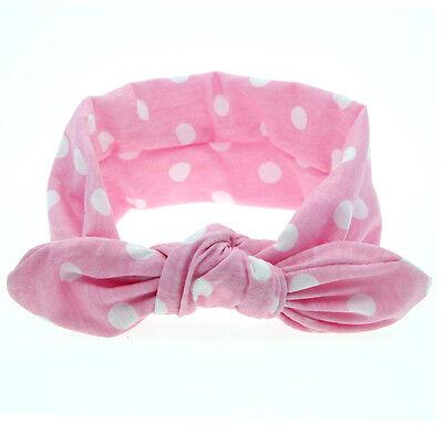 Newborn Baby Kids Girls Print Dot Rabbit Ears Hairband Turban Bow Knot Headband