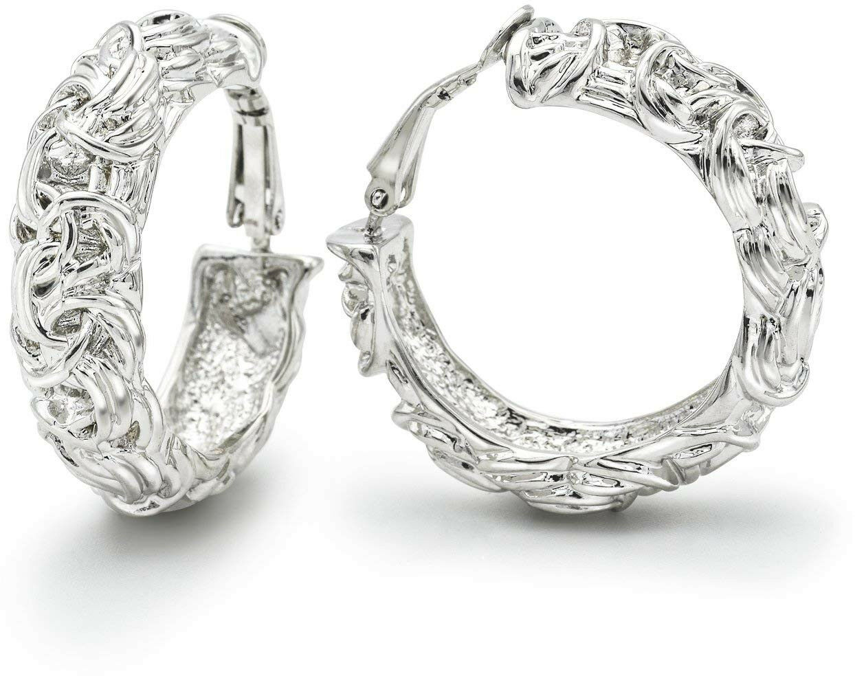Clip on Earrings Wide Hoop Byzantine Knot Fashion Ornate Rhodium Plated