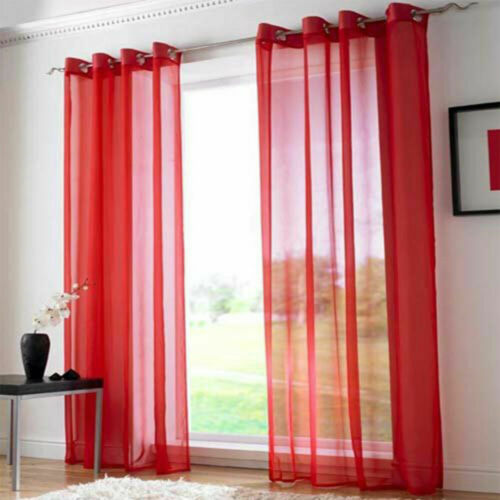 Net /& Voile Pair Curtain Panel Net Eyelet Top Slot Plain for Window Door Room