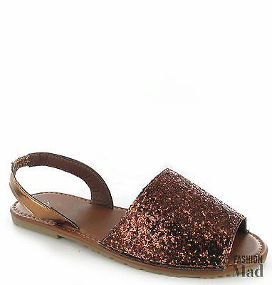 Damen Glitzer Sommer menorquinischen Sandalen Sling Strandschuhe Größe 3-9