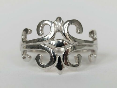 Details about  /Celtic Fleur De Lis Filigree Dainty Ring New 925 Sterling Silver Band Sizes 5-12