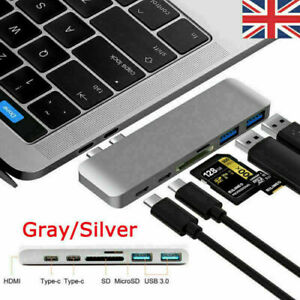 6in1 USB-C Hub HDMI Dual Type-C Multiport Card Reader Adapter 4K For MacBook Air
