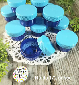 24-Blue-Plastic-Jars-Screw-Caps-1-Tblsp-1-2oz-Container-Lip-Gloss-3803-DecoJars
