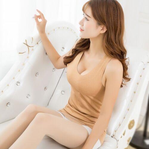 Lady Seamless Underwear Vest Waistcoat Tank Top Thermal Warm Sleeveless White
