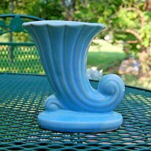 1940s USA Shawnee Pottery Cornucopia Turquoise Blue Vase Planter