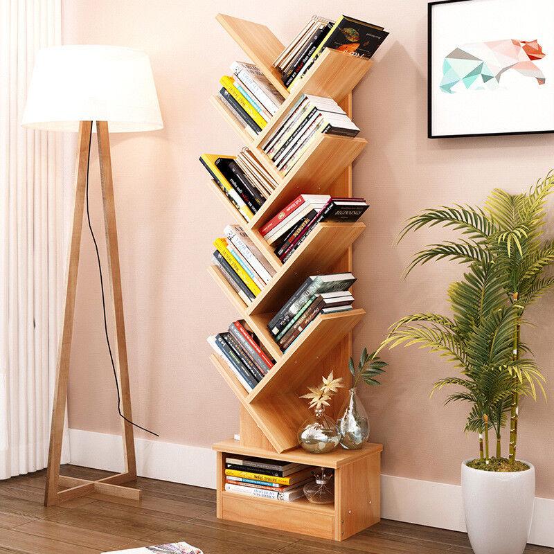 Bookcase Shelf Stand Display Cases Bookshelf Shelving Wood Shelves Tree Shape