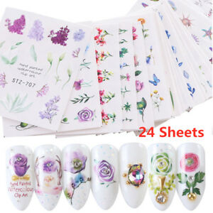 24-Sheets-Watercolor-Flower-Water-Transfer-Manicure-Nail-Art-Decor-Nail-Stickers