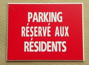 Objectif Plaque Gravée Pancarte Parking RÉservÉ Aux RÉsidents Ft 150 X 200 Mm Facile à Lubrifier