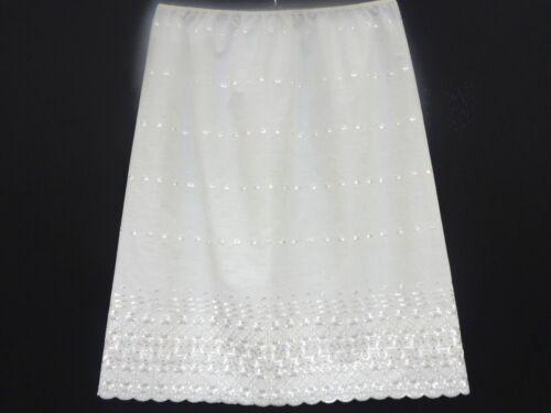 EMBROIDERED 100/% COTTON Underskirt Waist Slip Half Slip WHITE BLACK /& CREAM