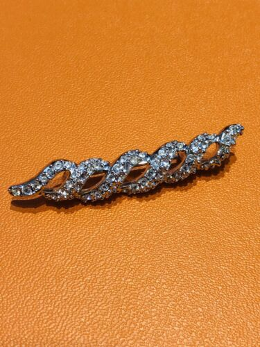 Swarovski Silver Tone Crystal Swirl Brooch