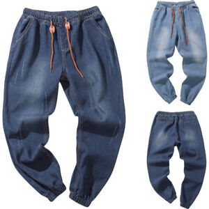 Men-039-s-Solid-Autumn-Denim-Cotton-Vintage-Wash-Hip-Hop-Work-Trousers-Jeans-Pants