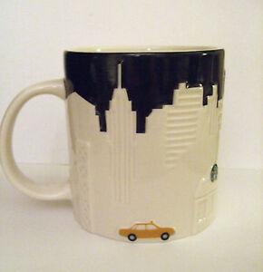 Starbucks-New-York-Coffee-Mug-NYC-Skyline-Taxi-Black-White-Relief-2012-Big-Apple