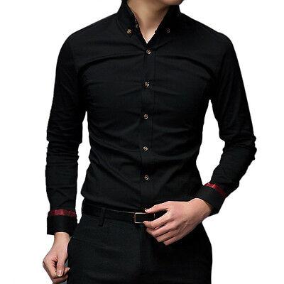 MT130 New Mens Luxury Casual Slim Fit Stylish Black Dress Shirts XS/S/M/L/XL