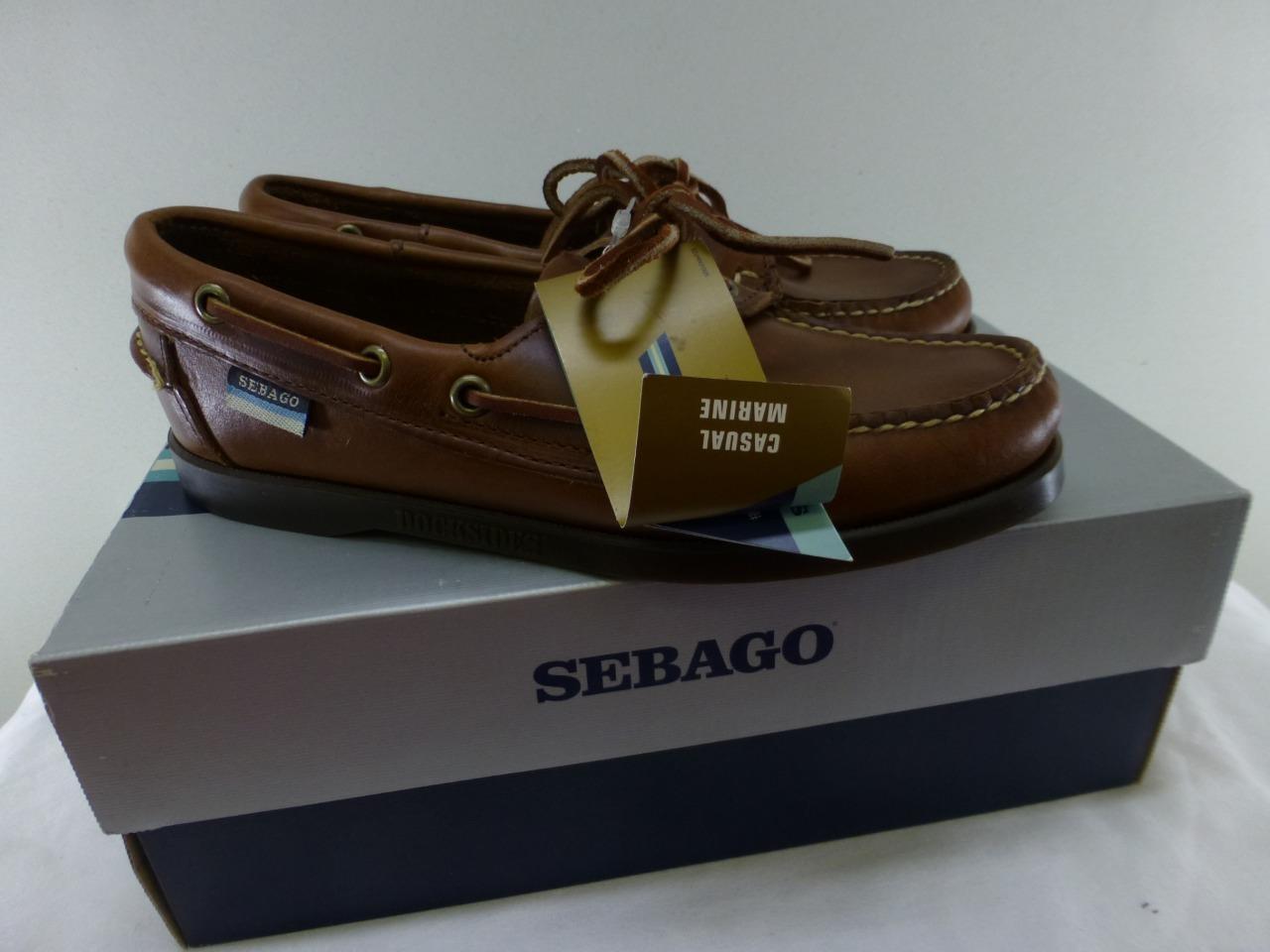 NWB New SEBAGO DOCKSIDES B58043 lace up brown pelle boat Shoes mocs Donna 6 M