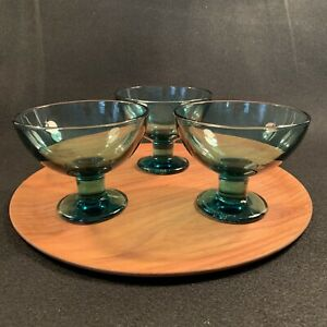 Iittala Finland Kerttu Nurminen Verna Dessert Bowls Sea Blue Glass 3 Three Ebay