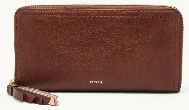 Fossil Genuine Ladies Emma RFID Large Zip Clutch Purse BNWT