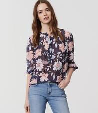 NWT Ann Taylor LOFT Navy Blue Bloom Shirred Henley Size XLarge XL