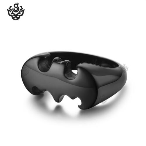 Black Batman ring solid stainless steel band movie replica soft gothic
