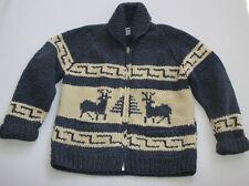 KANATA COWICHAN Wool Cardigan Sweater Reindeer Deer Mens L Canada Hand Knit