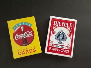 2-Decks-VINTAGE-Coke-amp-Bicycle-Plastic-Coated-Playing-Cards