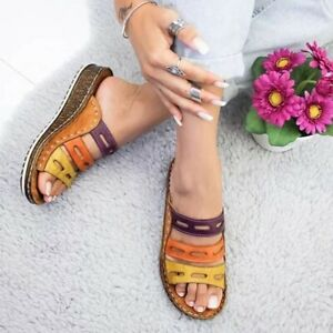 Women-Chic-Three-color-Stitching-Sandals-Original-Quality-Flat-Sandals
